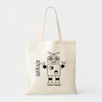 Color Your Own Robot Kids Personalized Coloring Tote Bag