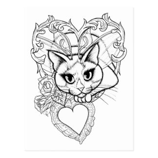 Color Your Own Valentine Fairy Cat Art Postcard