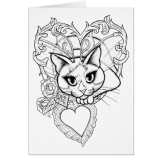 Color Your Own Valentine Fairy Cat Fantasy Card