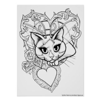 Color Your Own Valentine Fairy Cat Fantasy Print