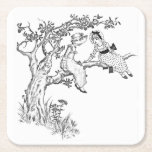 Color your Own, Vintage Girl's in Apple Tree Square Paper Coaster