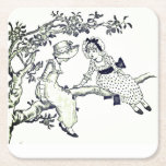 Color your Own, Vintage Kate Greenaway Picture Square Paper Coaster