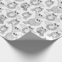 Color Your Own Whimsical Owls Wrapping Paper