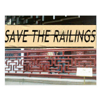 Color your world and save the railings! postcard