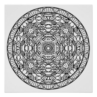 Color Yourself Mandala Poster Abstract Shapes Art