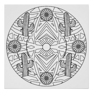 Color Yourself Mandala Poster Art Cactus Flowers