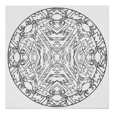 Aztec Themed Color Yourself Mandala Poster Crabs Abstract Aztec