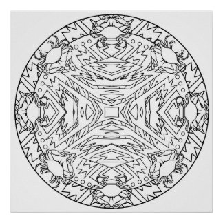 Color Yourself Mandala Poster Crabs Abstract Aztec