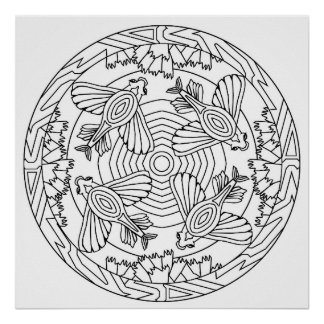 Color Yourself Mandala Poster Flying Fish Poster
