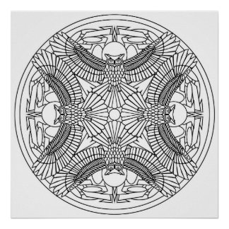 Color Yourself Mandala Poster Great Horned Owls