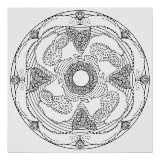 Color Yourself Mandala Poster  Polecat Paisley