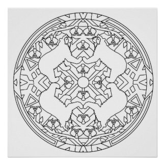 Color Yourself Mandala Poster Spectacled Bear Page