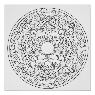 Color Yourself Mandala Poster Squirrel Poster