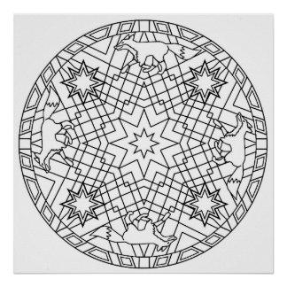 Color Yourself Mandala Poster Star Fox Poster
