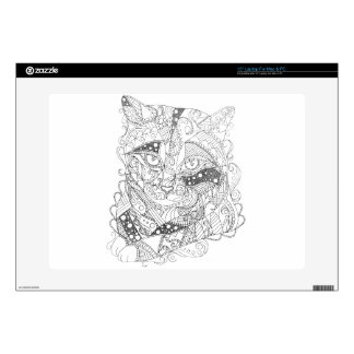 """Colorable Cat Abstract Art Adult Coloring Decals For 15"""" Laptops"""