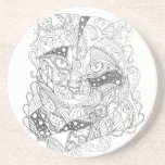 Colorable Cat Abstract Art Adult Coloring Drink Coaster