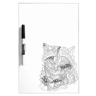 Colorable Cat Abstract Art Adult Coloring Dry Erase Board
