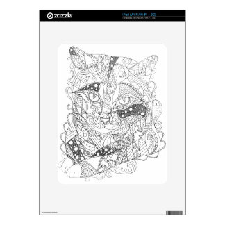 Colorable Cat Abstract Art Adult Coloring iPad Decal