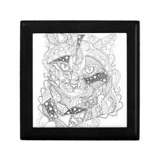 Colorable Cat Abstract Art Adult Coloring Keepsake Box