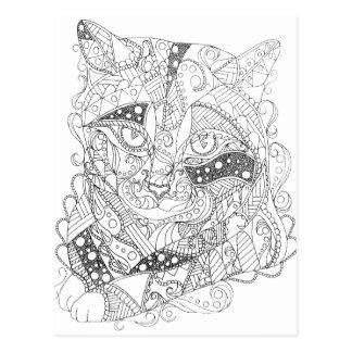 Colorable Cat Abstract Art Adult Coloring Postcard