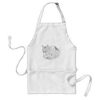 Colorable Cat Abstract Art Drawing for Coloring Adult Apron