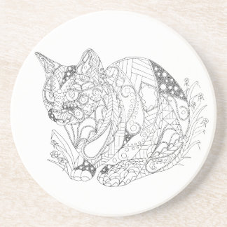 Colorable Cat Abstract Art Drawing for Coloring Drink Coaster
