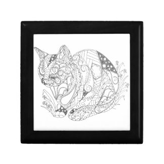 Colorable Cat Abstract Art Drawing for Coloring Jewelry Box
