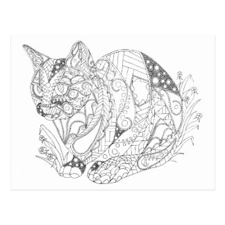 Colorable Cat Abstract Art Drawing for Coloring Postcard