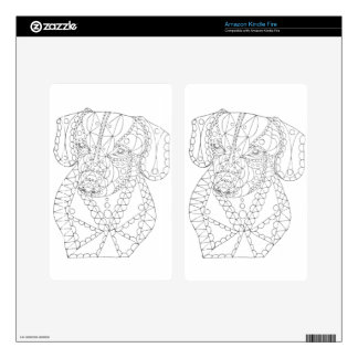 Colorable Dachshund Abstract Art Adult Coloring Kindle Fire Decal