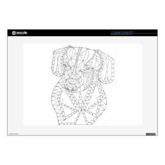 Colorable Dachshund Abstract Art Adult Coloring Laptop Skins