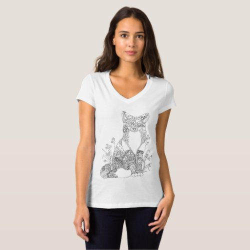Colorable Fox Abstract Animal Art Adult Coloring T_Shirt