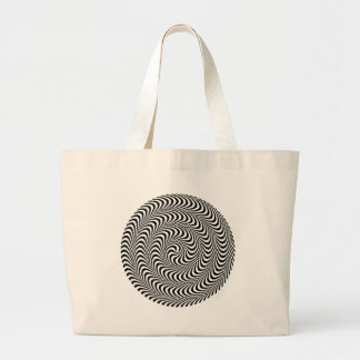 Colorable Optical Block Spiral Large Tote Bag