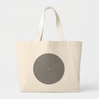 Colorable Optical Block Spiral Large Tote Bag