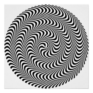 Colorable Optical Block Spiral Poster