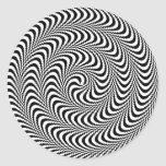 Colorable Optical Block Spiral Classic Round Sticker