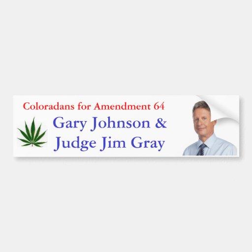 Coloradans for Amendment 64 Car Bumper Sticker