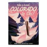 ¡Colorado a esquiar! Poster del viaje del vintage Tarjeta De Felicitación