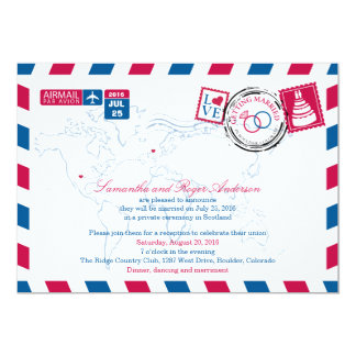 Colorado Air Mail Post Wedding Reception Card