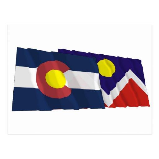 Colorado and Denver Flags Postcard
