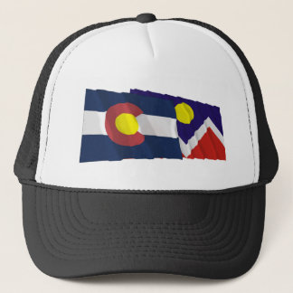 Colorado and Denver Flags Trucker Hat