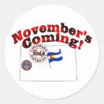 Colorado Anti ObamaCare – November's Coming! Round Sticker