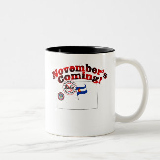 Colorado Anti ObamaCare – November's Coming! Two-Tone Coffee Mug