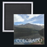 """Colorado Beautiful Mountains &amp; Serene Lake Magnet<br><div class=""""desc"""">Enjoy a mini-view of Colorado every day on your fridge! A glimpse of the beautiful sky over the mountains and serene water in Arapaho National Forest,  Frisco,  Colorado.</div>"""