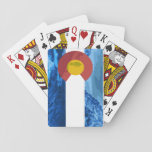 "Colorado Biker playing cards<br><div class=""desc"">Your friends will be very impressed with these sleek well designed cards. Featuring a custom image of the Colorado flag with landscapes and bikers.</div>"
