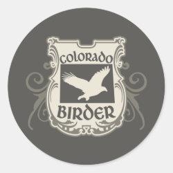 Round Sticker with Colorado Birder design