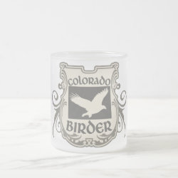 Frosted Glass Mug with Colorado Birder design