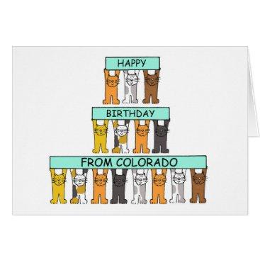 USA Themed Colorado Birthday Cats Card