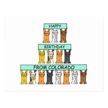 USA Themed Colorado Birthday Cats Postcard