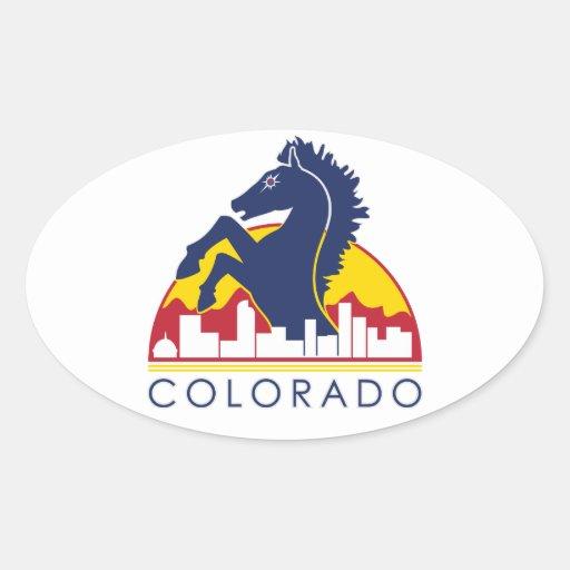 Colorado Blue Horse Oval Sticker