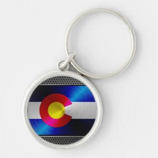 Colorado brushed metal flag keychain